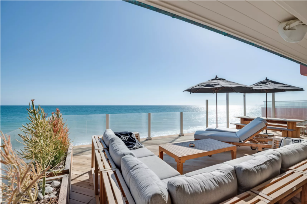 Deck of luxury home in malibu