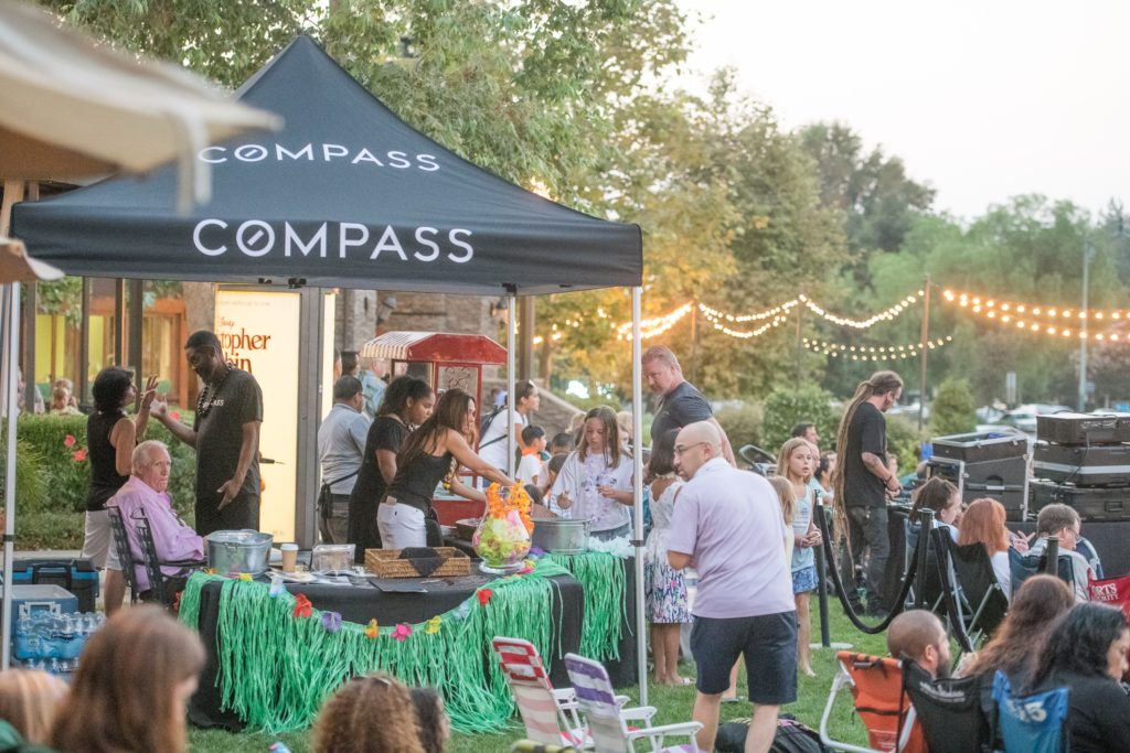 Nicki & Karen Compass Real Estate Booth at The Lakes Movie night on the Lawn in Thousand Oaks