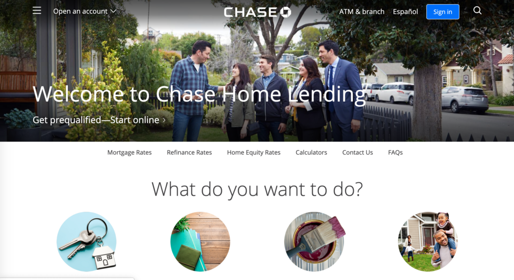 Chase webpage for home lending loans