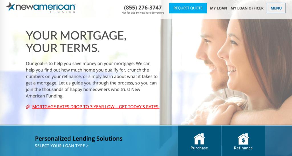 New American Funding mortgage  lender homepage of website