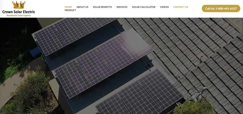 Crown solar electric website homepage