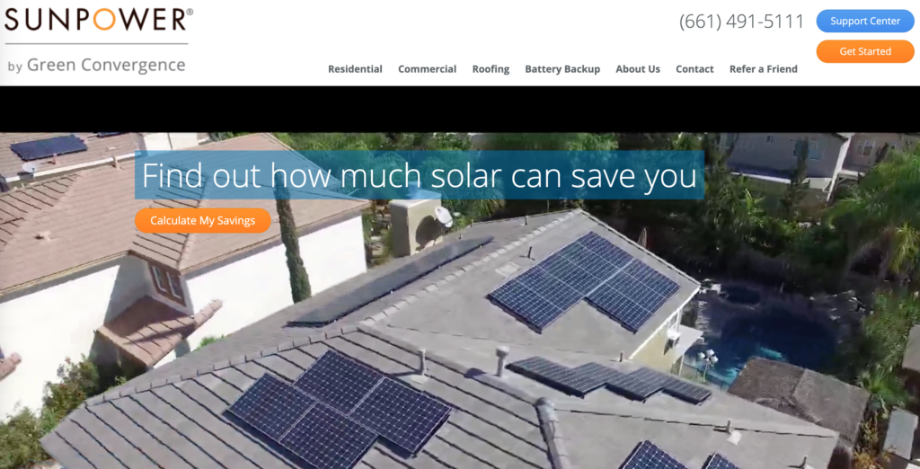Sunpower website homepage