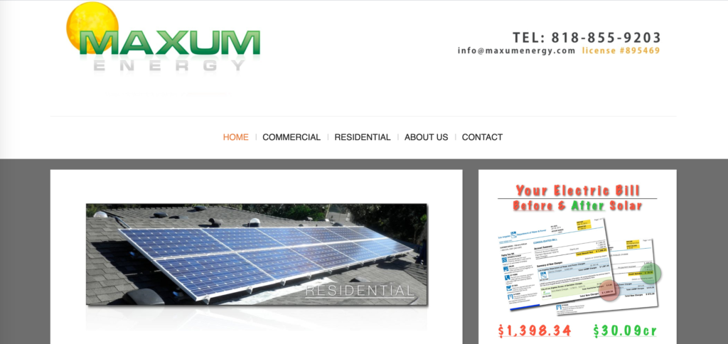 Maxum energy website homepage