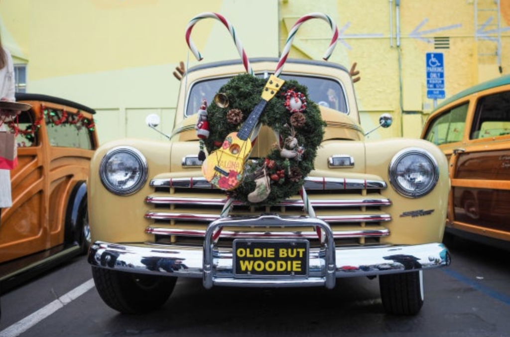 classic car for Malibu Christmas Woodie Parade