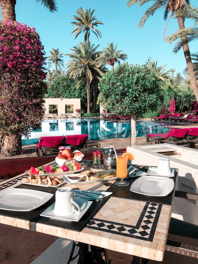 luxury vacation home breakfast by the pool