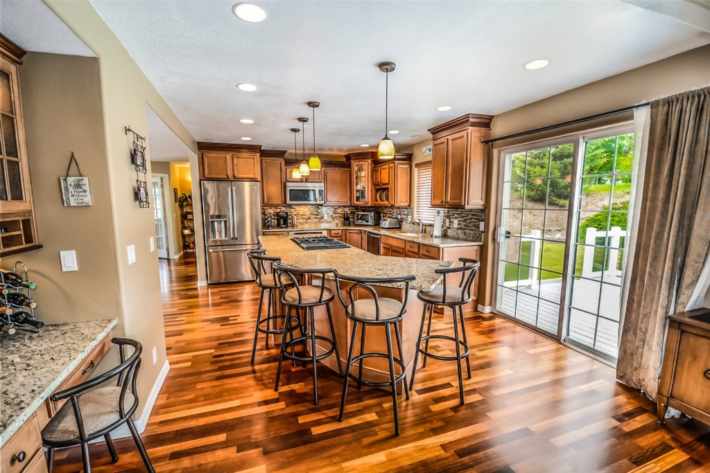 luxury kitchen with hardwood floors